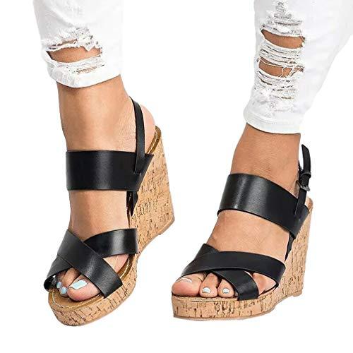 Peep Chaussures Sandales 43 Sandales Compensées Femme Poisson Couleurs Noir de Platform Sandales 8cm Hauts Talons 35 Casual Wedges 3 Toe RwwtXzqS4