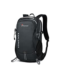 Mountaintop Backpack Casual Daypack for Travel College Hiking Cycling Camping (Black)