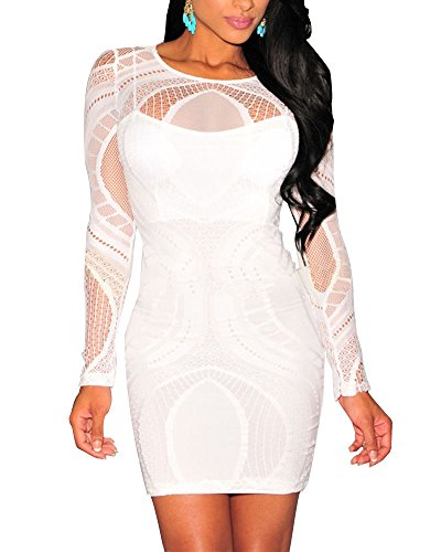 Cfanny Women's Lace Nude Illusion See Through Sleeves Bodycon Dress,White,Large