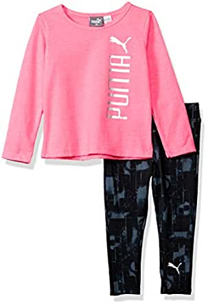 PUMA Baby Girls Top and Legging Set, Knock Out Pink, 12M