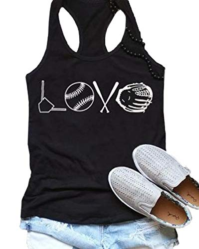 EGELEXY Love Baseball Racerback Tank Top Baseball Funny Graphic Printed Tee Women Summer Sleeveless Casual Vest T-Shirt Size L (Black)
