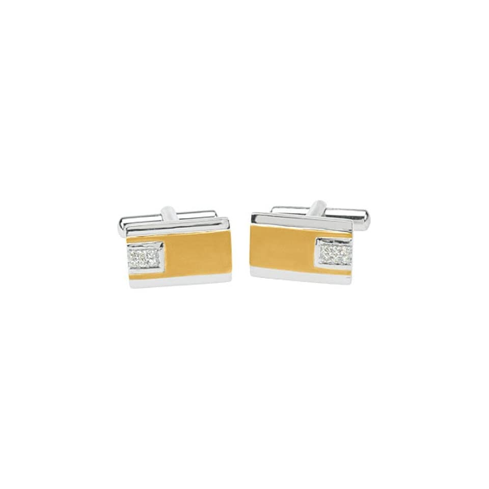 14K Two Tone Gold Diamond Cufflinks   0.16 Ct.