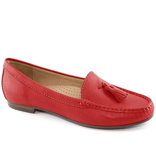 Driver Club USA Womens Leather Made in Brazil Palm Beach Loafer, red Grainy 6.5 M US