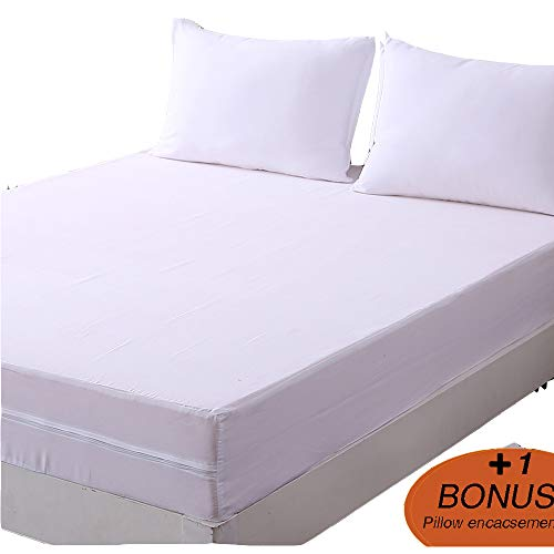 DOWNCOOL Zippered Mattress Encasement Cover- Include 1 Bonus Pillowcase- Breathable Six Sided Mattress Protector (9-12 deep, Twin XL)