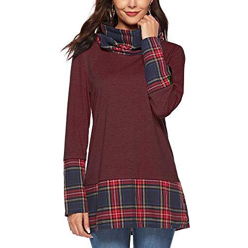 Lavender Gingham Dress - Keliay Bargain Womens Turtleneck Tops Plaid Stitching T-Shirts Tunic Pullover Sweatshirt Blouse