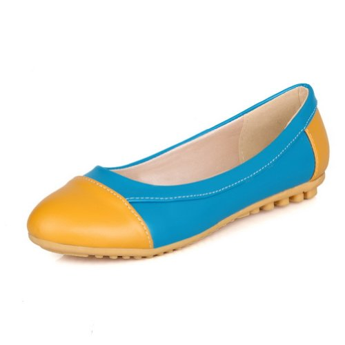 VogueZone009 Womens Closed Round Toe Low Heel PU Frosted Solid Pumps Blue Paxepfs