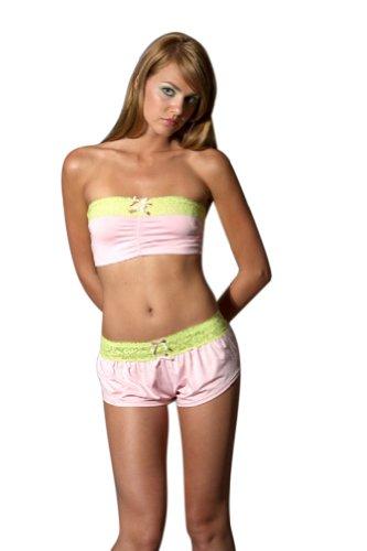 Womens Sexy Lingerie Sleepwear Nightwear Ruched Bandeau Bra Pink Mini Dress - Medium (6-8) -