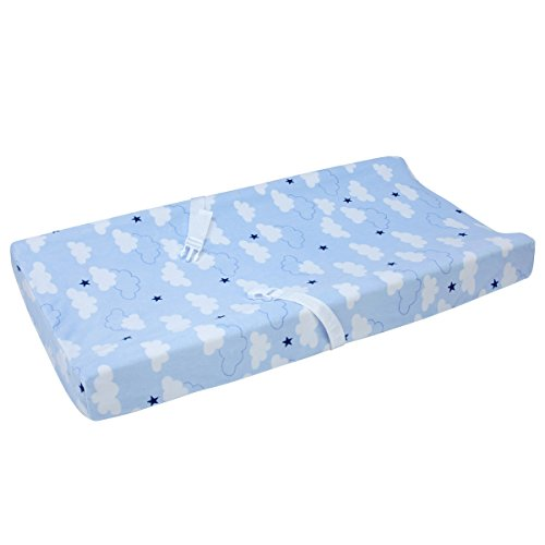 Price comparison product image Carter's Take Flight Airplane / Cloud / Star Super Soft Changing Pad Cover,  Blue,  Navy,  White