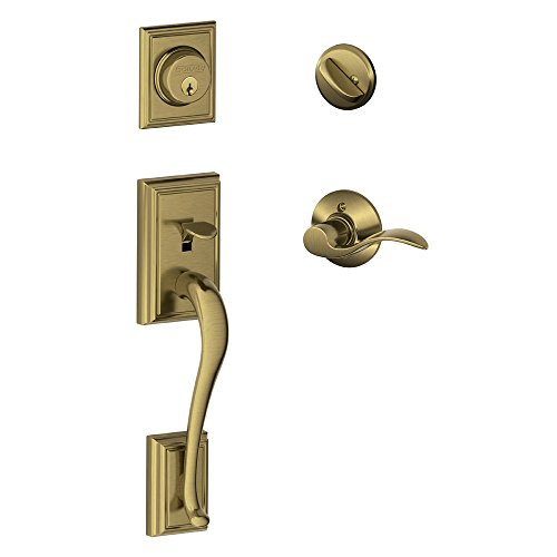 Addison Single Cylinder Handleset and Left Hand Accent Lever, Antique Brass (F60 ADD 609 ACC LH)