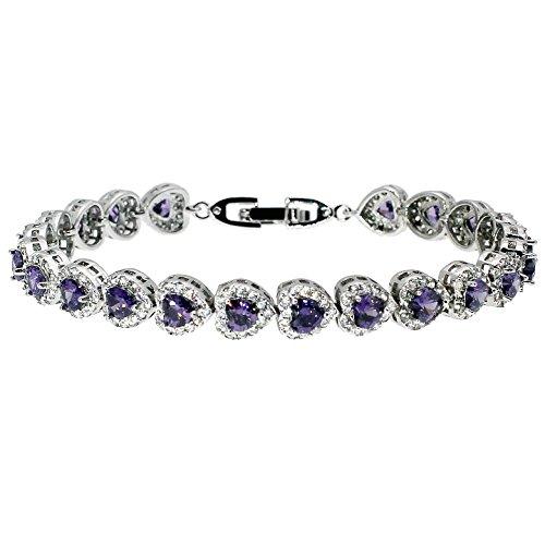 HERMOSA 925 Sterling Silver Love Bracelets Garnet Amethyst Sapphire Ruby White Topaz Bracelet 7 inch (Amethyst)