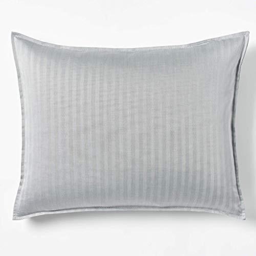 (Robert Graham Home Herringbone Charcoal Italian Percale Woven with Extra-Fine Long Staple Cotton Pillow Sham (King))