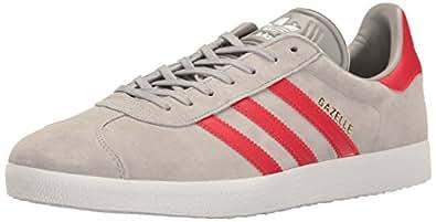adidas Originals Men's Gazelle Fashion Sneaker, Medium Grey Heather/Light Scarlet/White, 4.5 M US