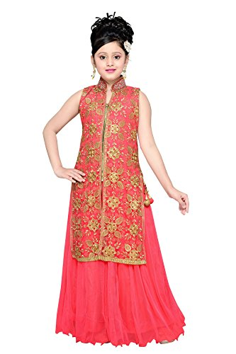 Aarika Girl's Gajri Self Design Party Wear Gown (G-2010-GAJRI_24_5-6 Years) by Aarika