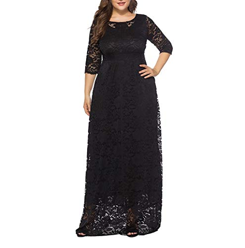 Women's Dress, JHKUNO Plus Size Elegant Full Flroal Lace Floor-Length Cocktail Bridal Wedding Dress Slim Ruched Party Dress Waist Long Flowy Beach Maxi Dress Black ()