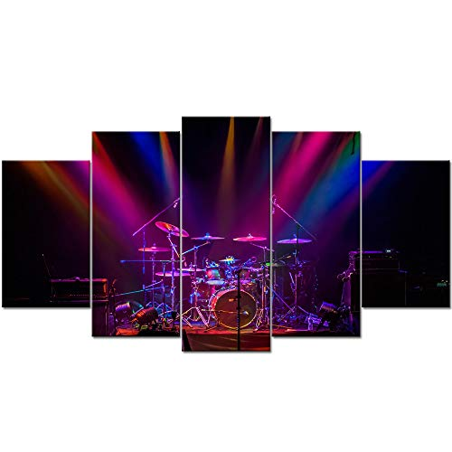 LevvArts - Large 5 Piece Canvas Wall Art Drum Kit in Dramatic Spotlight Picture Painting for Room Pub Studio Wall Decoration Music Posters Gallery Canvas Wrapped Ready to Hang ()