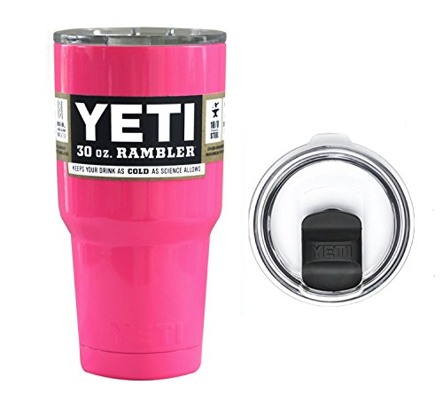 Pink Neon Fuchsia 30 Ounce (30oz) Rambler Tumbler Cup Mug with Exclusive Spill Proof Lid