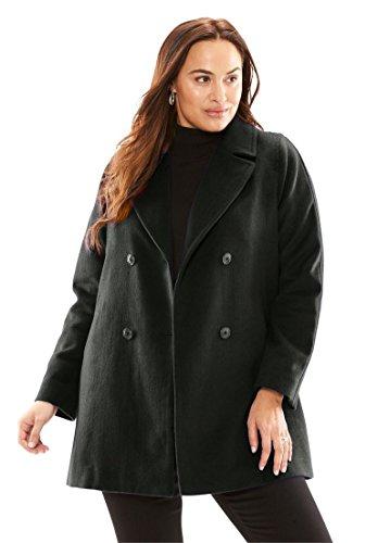 Jessica London Women's Plus Size Updated Peacoat Black,16 Jessica Peacoat