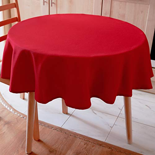 AHOLTA DESIGN RED Tablecloth Christmas Table Cover Polyester Stain Resistant Tablecloth Non-Iron Wrinkles Free - Red Christmas Dinner Tablecloth New Year Eve Gift Family Dinner(RED Plain, Round 70