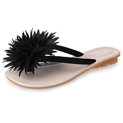 Women's Fashion Flower Flip-Flops Outdoor Anti-Slip Beach Sandal Summer Slacker Shoes