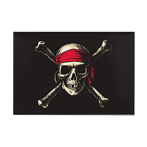 (Rectangle Magnet Pirate Skull Crossbones)