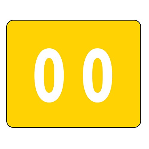 Smead DCCRN Numeric Color-Coded Numeric Labels, Number 0, Yellow, 500 Labels per Roll (67340)