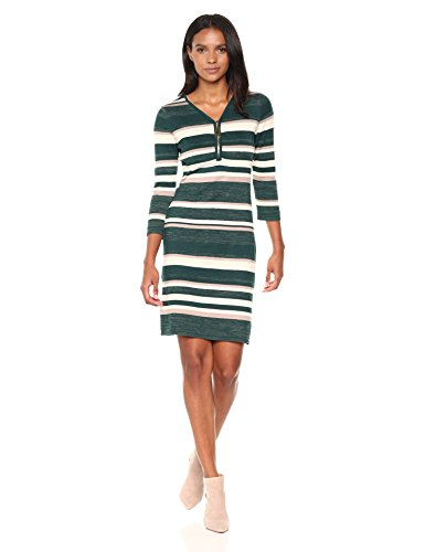Allison Brittney Women's Stripe Vnk With Zipper 3/4 Slv Dress