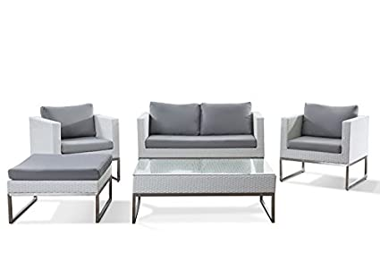 Beliani Crema Modern Outdoor Conversation Set in Stainless Steel and White  Wicker - Amazon.com: Beliani Crema Modern Outdoor Conversation Set In