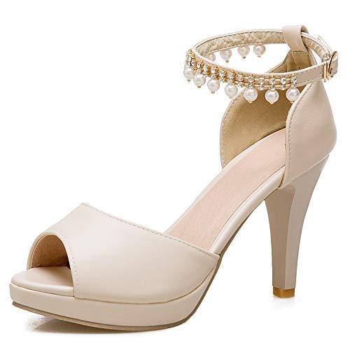 Sandales Femmes Elegant Mariage Dames Zpfme Talons Beige Plate Hauts Moyen forme Bureau Soir Talon Rpxqvqw5H