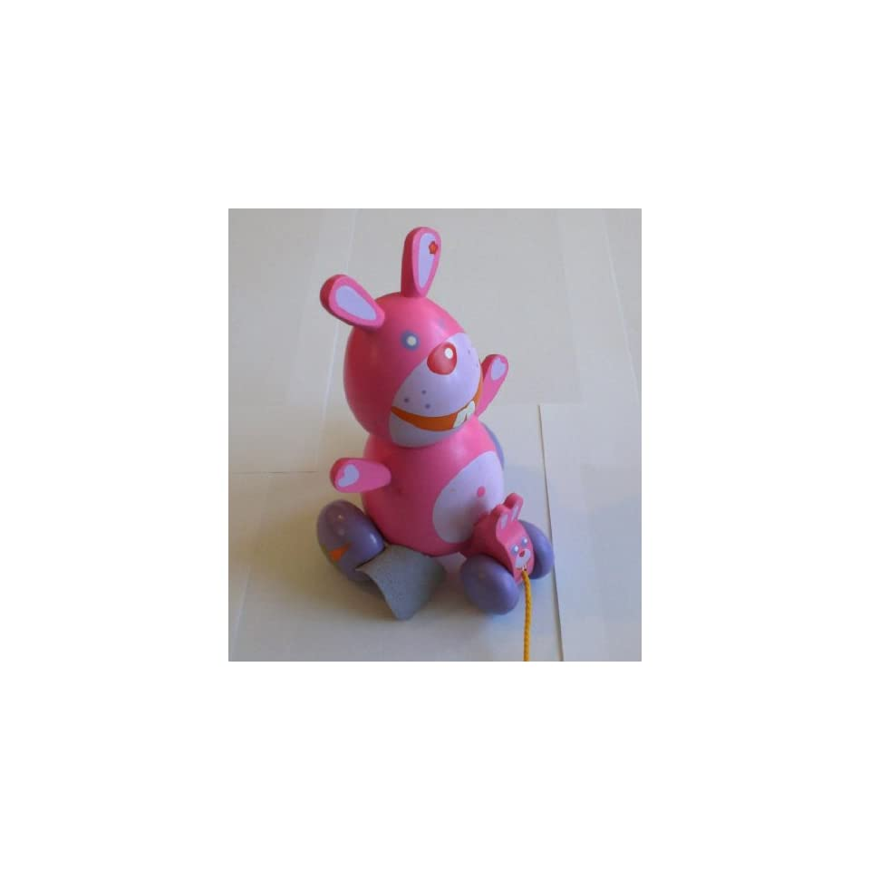 Baby Pink Wood Wooden Pull Toy Bunny Developmental