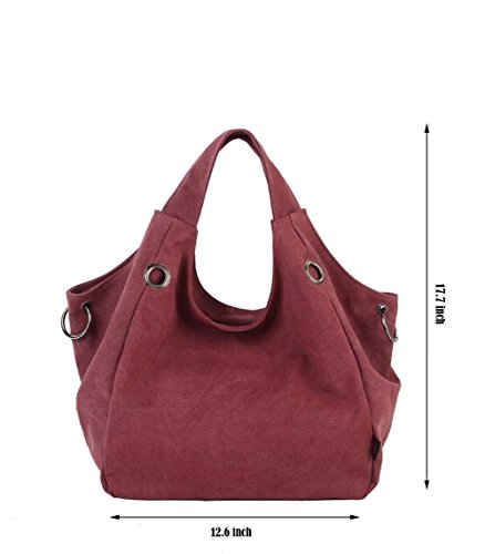 Bags Brick Shoulder Canvas Puluo Large Sling Red Women's Black Capacity Hobo w0wP4zxZ