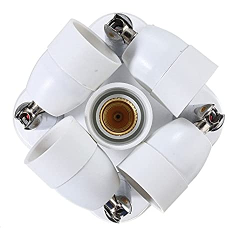 fineled E27 a adaptador divisor de 5 E14 bombillas LED, ajustable 5 in1 Flexible E27 a E14 Socket con 360 grados adjustable180 grado doblado: Amazon.es: ...