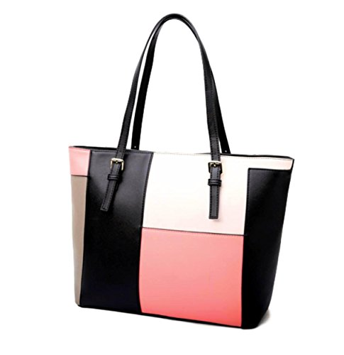 Pink Leather Tote Bag (Rekade Tote bag Hand bag Leather [ for women Grey / Pink ] with zipper colorful (Pink))