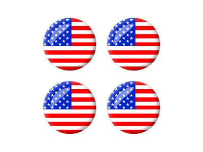Graphics and More American USA Flag - Wheel Center Cap 3D Domed Set of 4 Stickers Badges