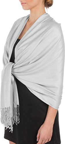 Sakkas Large Soft Silky Pashmina Shawl Wrap Scarf Stole in Solid Colors - Moonlight Grey