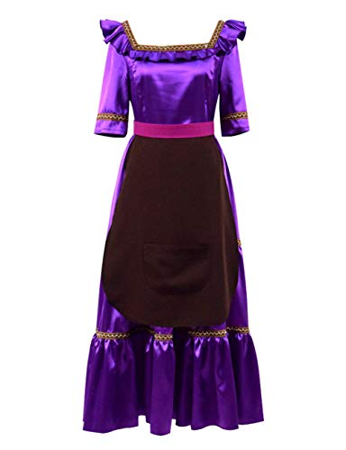 Qi Pao The Day of The Dead Imelda Womens Party Dress Hector Hat Shirt Pants Halloween Cosplay Costume (Women-M, Bright Purple) -