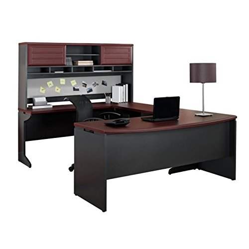 Altra Pursuit U Shaped Desk With Hutch Bundle Cherry Gray
