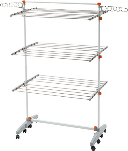 idee BDP-V23 Foldable Rolling 3-tier Clothes Laundry Drying Rack with with Stainless Steel Hanging Rods, Collapsible Shelves and Base for Easy Storage, Made-in-Korea, Premium Size, Orange