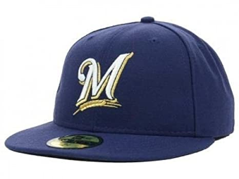 low priced e270c 5af17 Amazon.com   New Era Milwaukee Brewers MLB Authentic Collection 59FIFTY On  Field Cap NewEra   Clothing