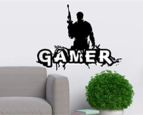22 x 7, Black Gamer Wall Decal Wall Sticker for Boys Bedroom Game Room Wall Mural Children Gift Nursery Home Decoration