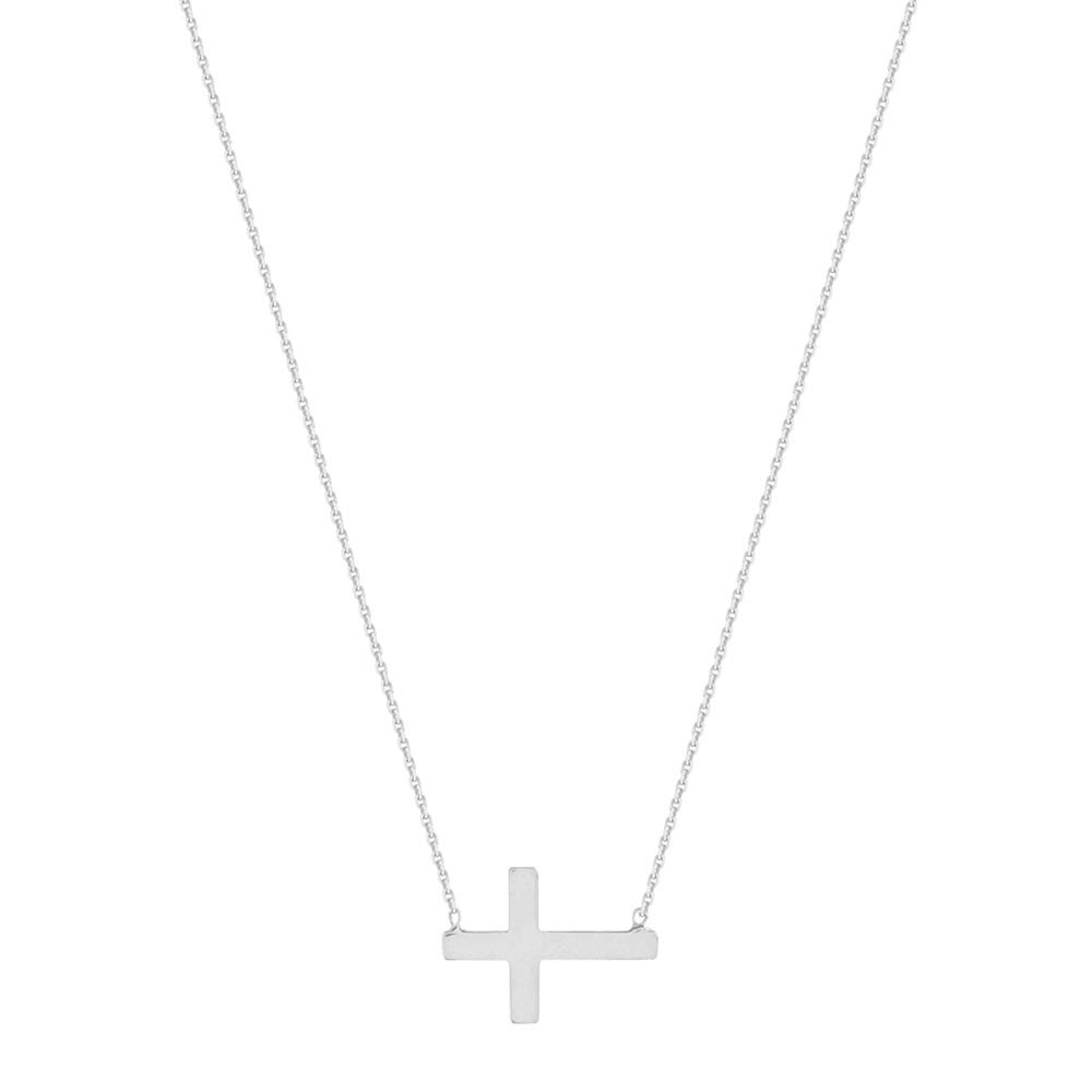 14kt White Gold East2West Mini Cross Necklace adjustable