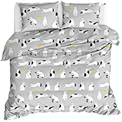 OZINCI - Juego de Funda de edredón y Funda de Almohada para Cama de Matrimonio, 100% algodón, diseño de Gatos, Gris, Full/Queen Size, 3