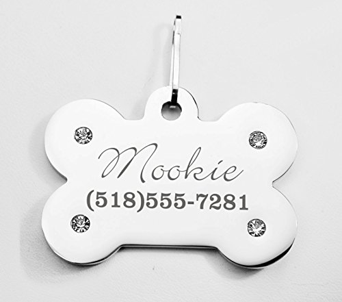 Engraved Bone Pet Tag - Silver Finish Stainless Steel Rhinestone Bone-Shaped Pet Tag ID Charm Pendant for Dogs Collars Personalized Free Dog Tag Bling
