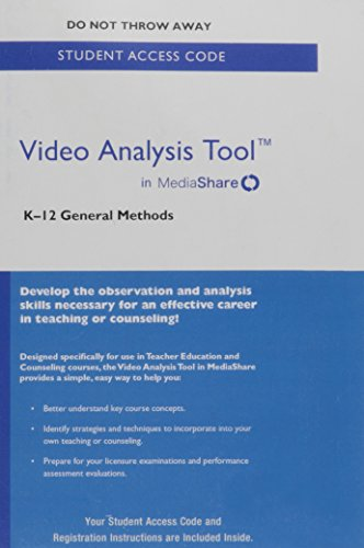 Video Analysis Tool for K-12 General Methods in MediaShare -- Standalone Access Card