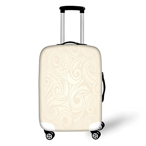 Suitcase Protector,Ivory,Victorian Curved Renaissance Style Leaves Branches Artistic Classic Petals Illustration,Cream,for Travel ()