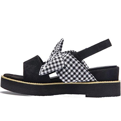 zapatos Mujer sandalias verano SOHOEOS con plataforma Flop Knot moda señoras Nuevo Open Flip romanas para casual Sandalias Señoras Bow Negro toe qwUAYUE