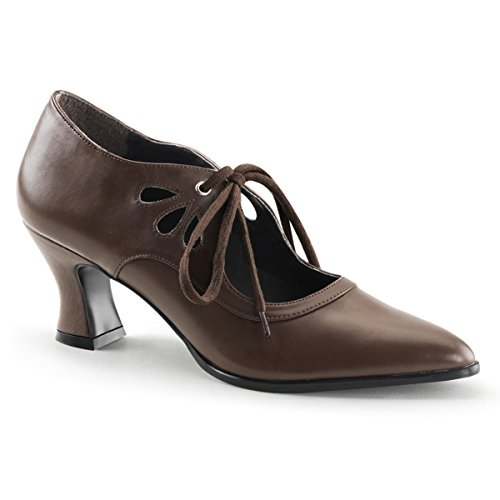 Summitfashions Womens Brown Pointed Toe Pumps Victorian Shoes with 2'' Heels and Lace Up Front Size: 9