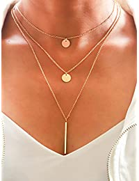 Layered Necklaces with Pendant for Women and Girls XL-66 (Gold)