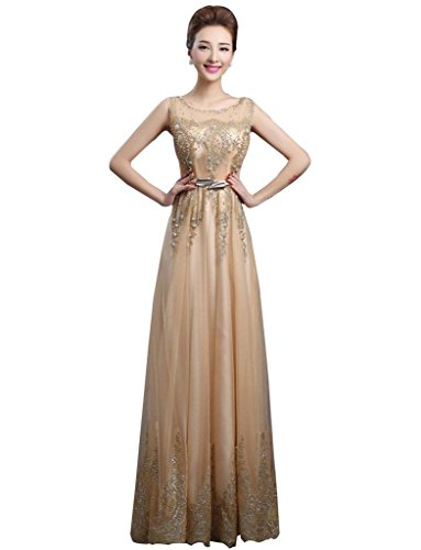 d5119bde9d9 Drasawee Women Long Faux Pearl Bridal Formal Gowns Net Prom Evening Dress  Gold US18