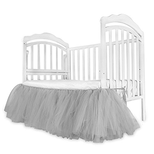 LuermeCribSkirtBabyRuffleBabyBedSkirtPortableTulleTutuCribSkirtHandmadeforBoysOrGirlsBirthdayParty,BabyShower&BabyRoomDecoration (Gray)