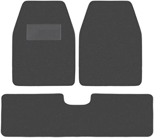 BDK 3 Pieces Heavy Duty Carpet Floor Mats for CAR SUV Van – Extra Thick Carpet with Rubber Backing Multiple Colors (Charcoal)